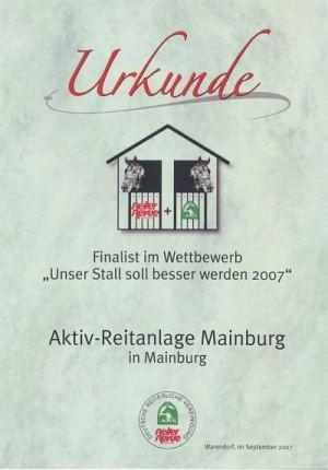 Auszeichnungen der Aktiv-Reitanlage Mainburg